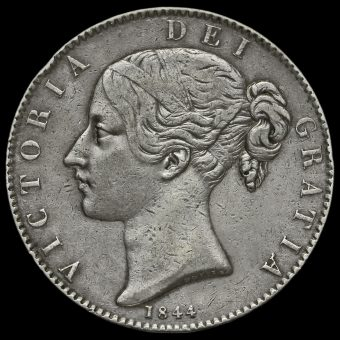 1844 Queen Victoria Young Head Silver Crown, Cinquefoil Stops Obverse