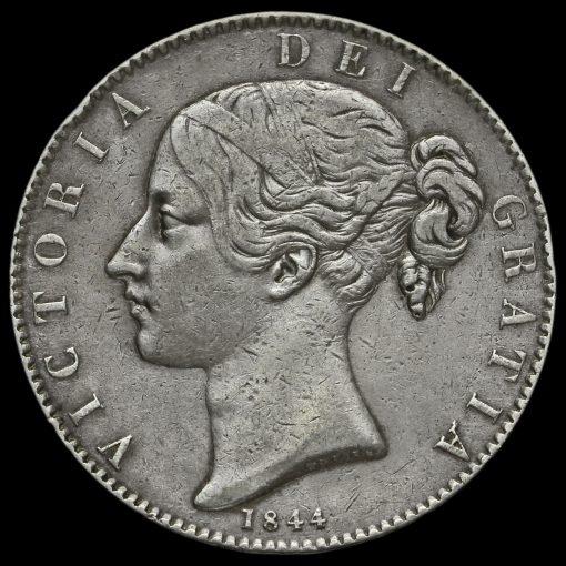 1844 Queen Victoria Young Head Silver Crown, Cinquefoil Stops Obverse