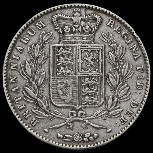 1844 Queen Victoria Young Head Silver Crown, Cinquefoil Stops Reverse