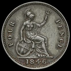1846 Queen Victoria Silver Fourpence / Groat Reverse
