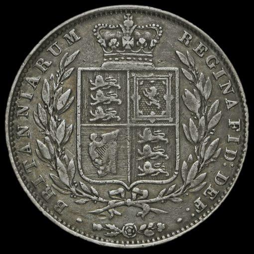 1848 Queen Victoria Young Head Silver Half Crown Reverse