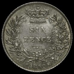 1852 Queen Victoria Young Head Silver Sixpence Reverse