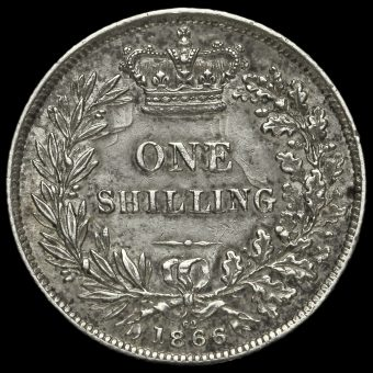 1866 Queen Victoria Young Head Silver Shilling Reverse