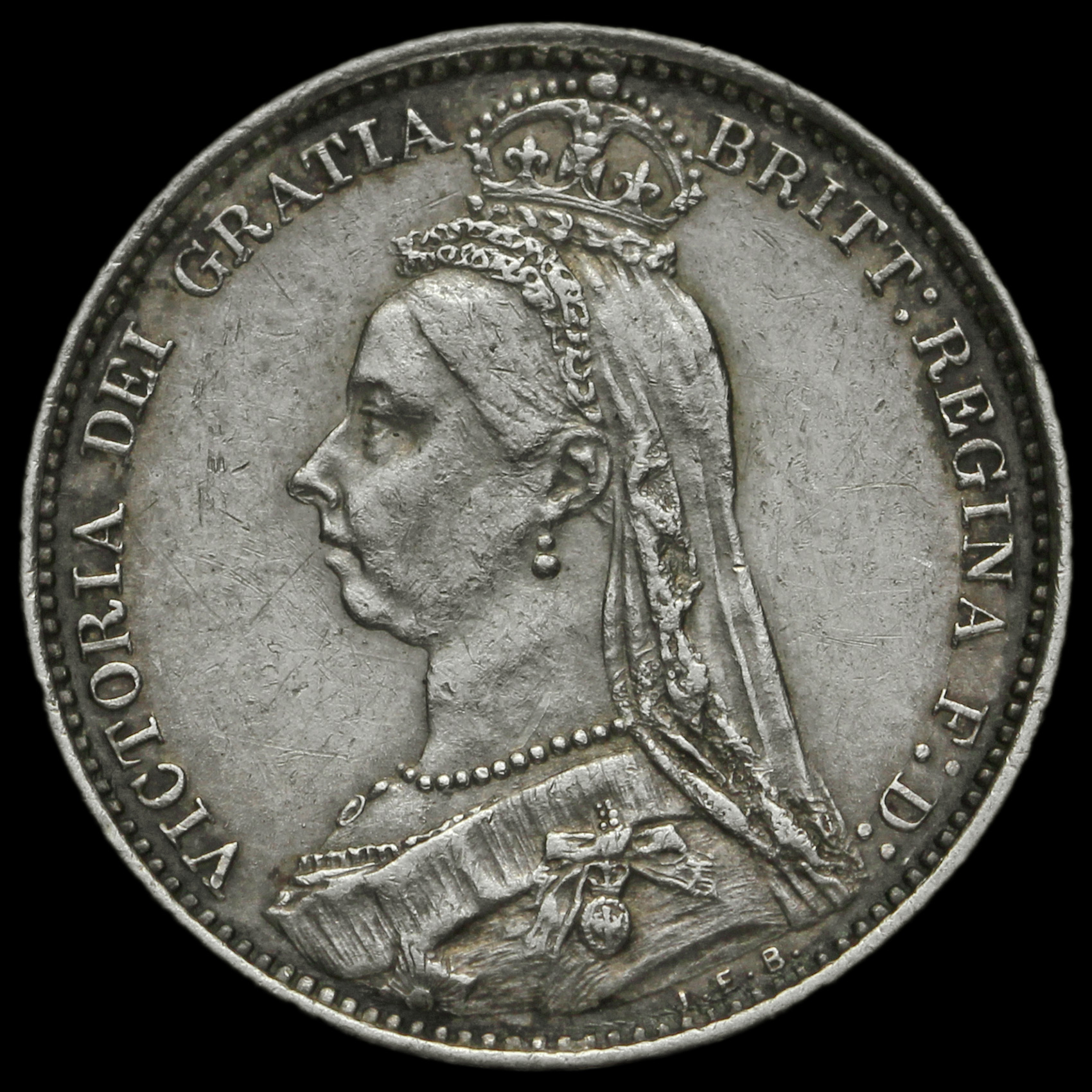 1887 Queen Victoria Jubilee Head Silver Wreath Sixpence Ef