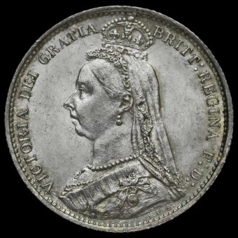 1888 Queen Victoria Jubilee Head Silver Sixpence Obverse