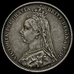 1892 Queen Victoria Jubilee Head Silver Sixpence Obverse