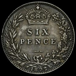 1892 Queen Victoria Jubilee Head Silver Sixpence Reverse