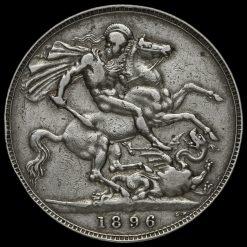 1896 Queen Victoria Veiled Head Silver LX Crown Reverse