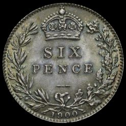 1900 Queen Victoria Veiled Head Silver Sixpence Reverse