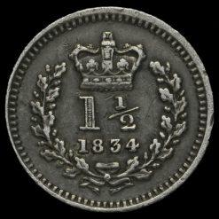 1834 William IV Milled Silver Three-Halfpence Reverse