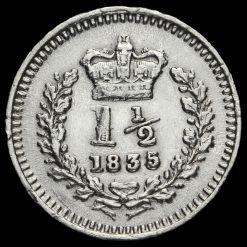 1835 William IV Milled Silver Three-Halfpence Reverse