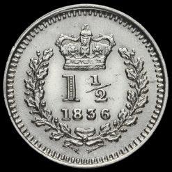 1836 William IV Milled Silver Three-Halfpence Reverse