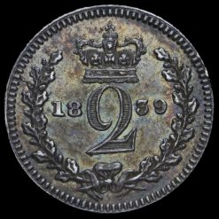 1839 Queen Victoria Young Head Silver Maundy Twopence Reverse