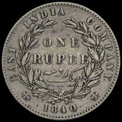 British India 1840 Queen Victoria One Rupee Reverse