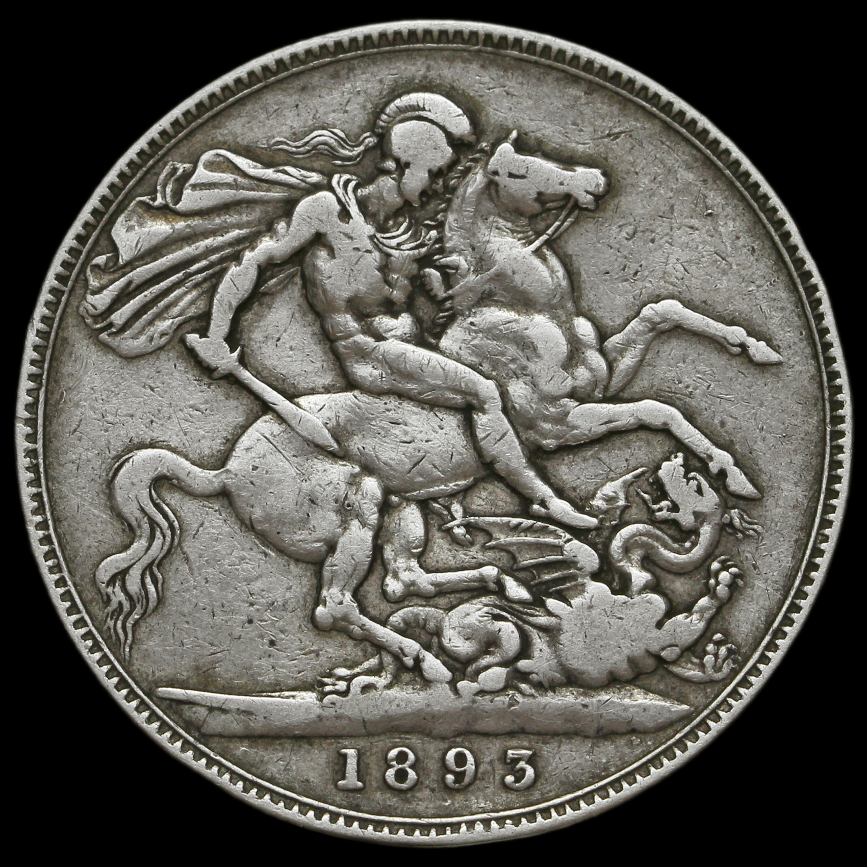 1893 Queen Victoria Veiled Head Silver Lvii Crown Rare