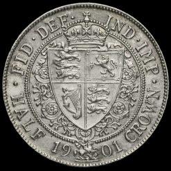 1901 Queen Victoria Veiled Head Silver Half Crown Reverse