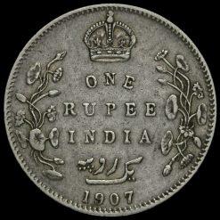 British India 1907 Edward VII One Rupee Reverse