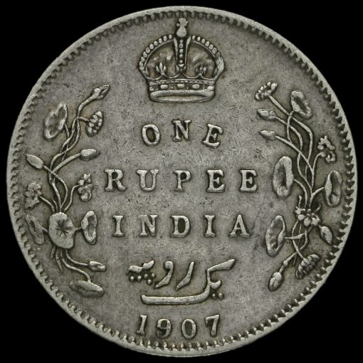 British India 1907 Edward VII One Rupee Reverse