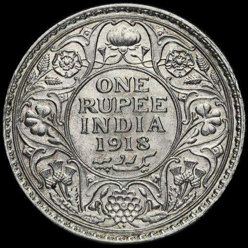 British India 1918 George V One Rupee Reverse
