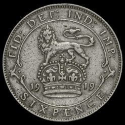 1919 George V Silver Sixpence Reverse