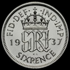 1937 George VI Silver Proof Sixpence Reverse