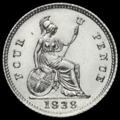 1838 Queen Victoria Young Head Silver Fourpence / Groat Reverse