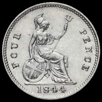 1844 Queen Victoria Young Head Silver Fourpence / Groat Reverse