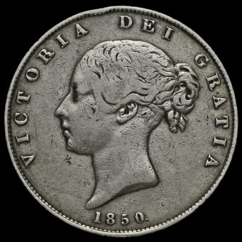 1850 Young Head Silver Half Crown Obverse