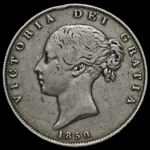 1850 Young Head Silver Half Crown Obverse