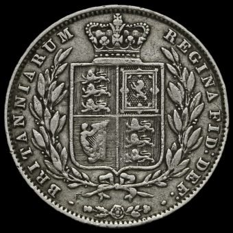 1850 Young Head Silver Half Crown Reverse