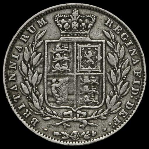 1850 Young Head Silver Half Crown Reverse
