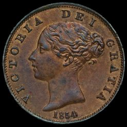 1854 Queen Victoria Young Head Copper Halfpenny Obverse