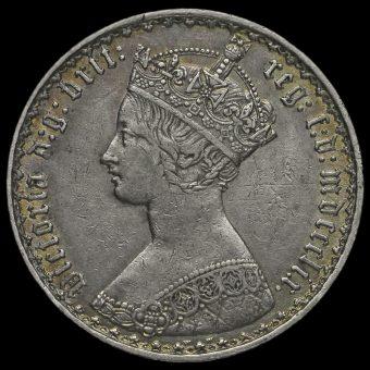 1859 Queen Victoria Gothic Florin Obverse