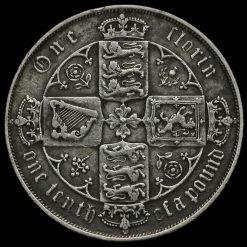 1880 Queen Victoria Gothic Florin Reverse