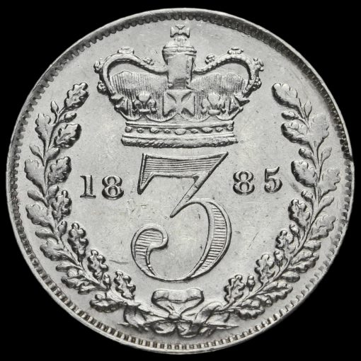 1885 Queen Victoria Young Head Silver Threepence Reverse
