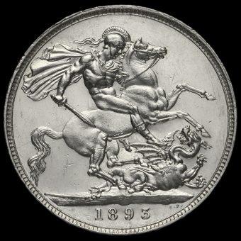 1893 Queen Victoria Veiled Head Silver LVI Crown Reverse