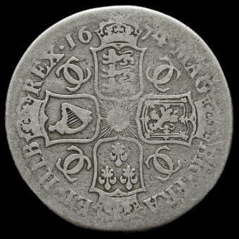 1674 Charles II Early Milled Silver Half Crown Reverse