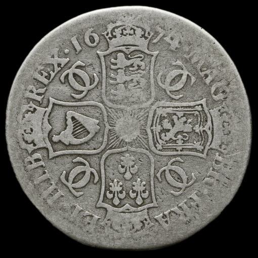 1674 Charles II Early Milled Silver Half Crown Reverse