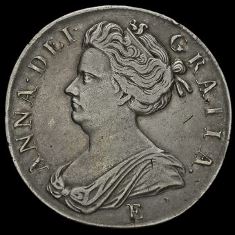 1707 Queen Anne Early Milled Silver Crown, Edinburgh Mint Obverse