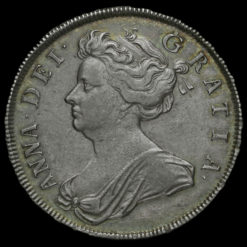 1707 Queen Anne Early Milled Silver Half Crown Obverse