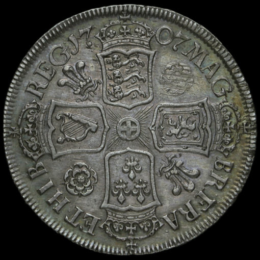 1707 Queen Anne Early Milled Silver Half Crown Reverse