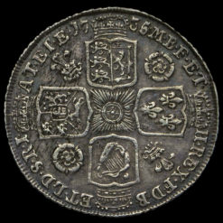 1735 George II Early Milled Silver Shilling Reverse