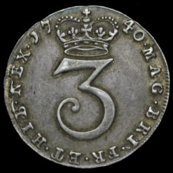 1740 George II Early Milled Silver Threepence Reverse