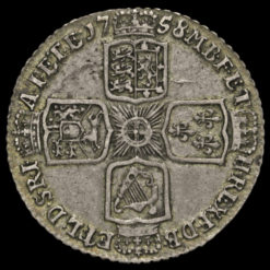 1758 George II Early Milled Silver Shilling Reverse