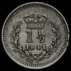 1841 Queen Victoria Young Head Silver Three-Halfpence Reverse