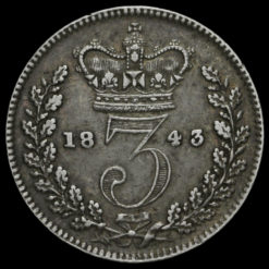 1843 Queen Victoria Young Head Silver Threepence Reverse