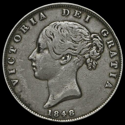 1848 Queen Victoria Young Head Silver Half Crown Obverse