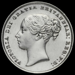 1856 Queen Victoria Young Head Silver Shilling Obverse
