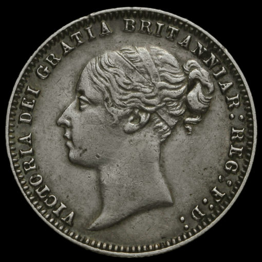 1878 Queen Victoria Young Head Silver Sixpence Obverse