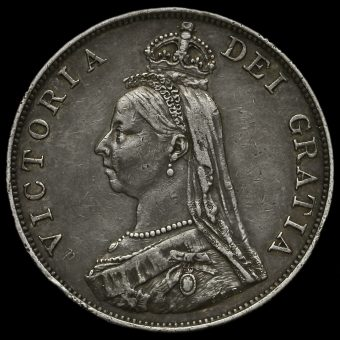 1890 Queen Victoria Jubilee Head Silver Double Florin Obverse